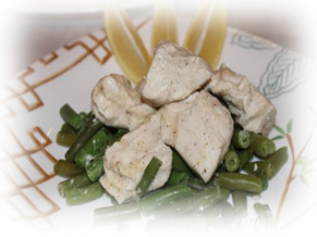 Стручковая фасоль с куриным филе в пароварке 79,3ккал.